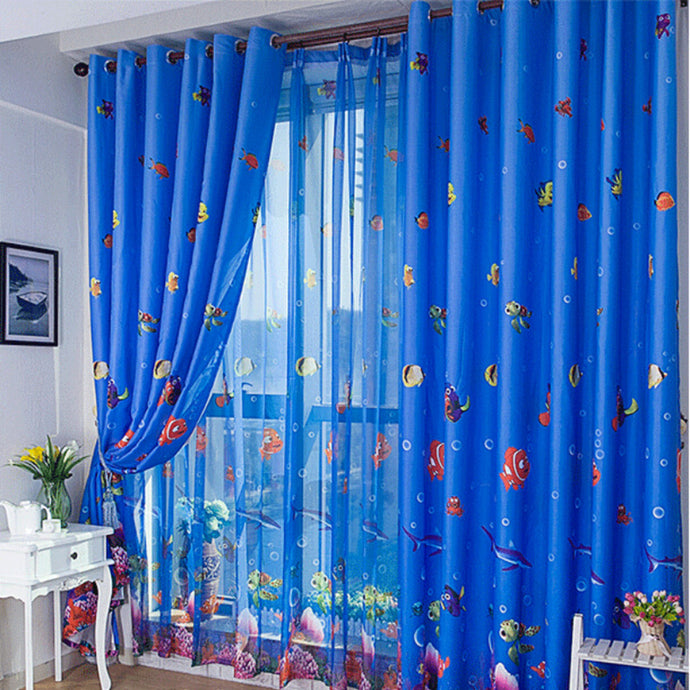Blue Ocean Sea Fish Translucent Window Tulle for Kids Boys Girls Room