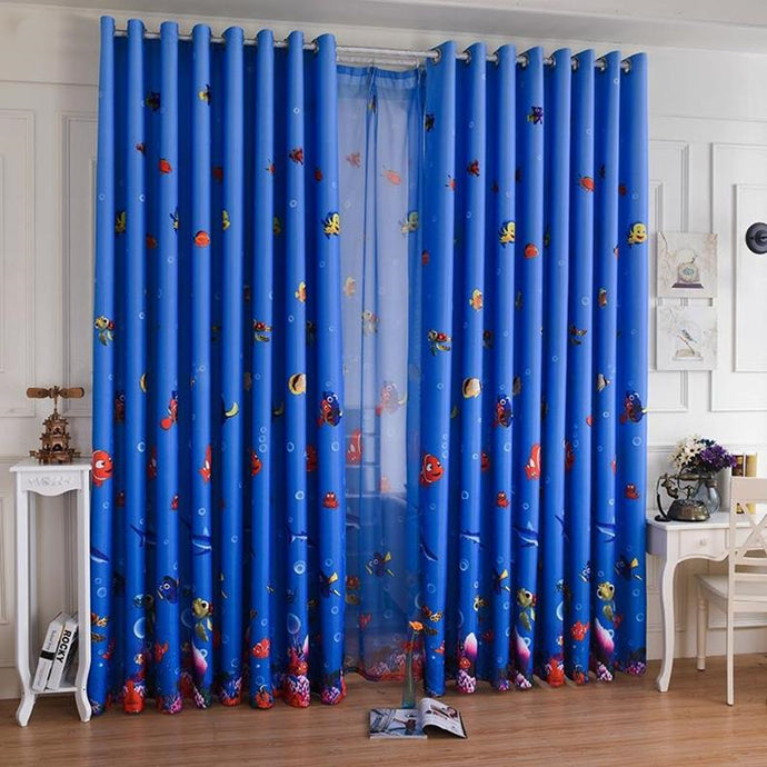 Blue Ocean Sea Fish Thick Window Curtain for Kids Boys Girls Room
