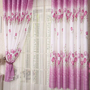 European Style Windows Bead Rope Curtain | Pink or Gold Tulip Flower Pattern