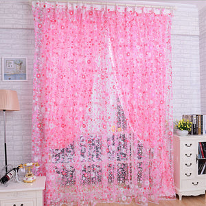 Floral Pink Butterfly Window and Door Sheer Curtains