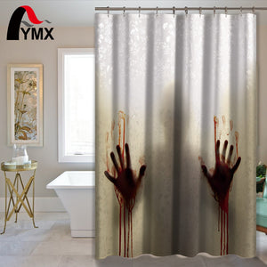 Bloody Handprints Shadow Halloween Shower Curtain
