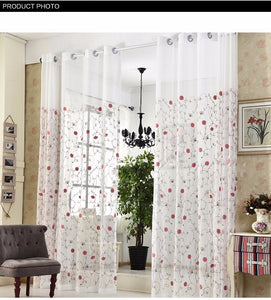 Embroidered Floral White Tulle Curtains
