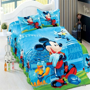 Twin Sky Blue Mickey Mouse Duvet Cover and Pillowcase Set