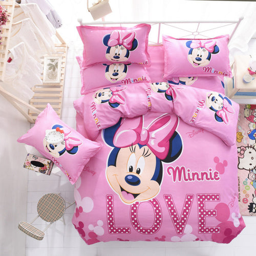 Disney Mickey or Minnie Mouse Kids Bedding Set - Quilt or Duvet Cover Bed Sheet Pillow Cases
