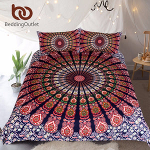 Orange Blue Bohemian Mandala Floral Duvet Cover Set With Pillowcase