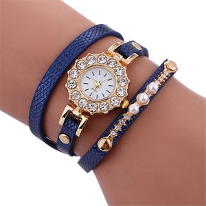 Xinlu Fashion Crystals in Gold Polished Alloy Luxury Watche for Women