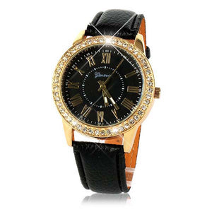 Bling Gold Crystal Quartz Women Watch with Luxury Leather Strap