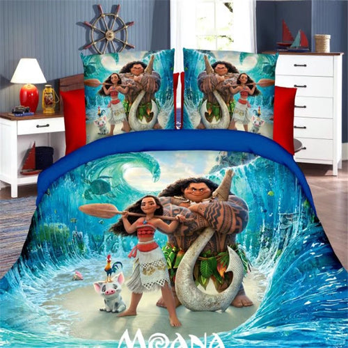 Disney Moana Princess Girls Twin Bedding Set Duvet Cover Bed Sheet Pillow Cases