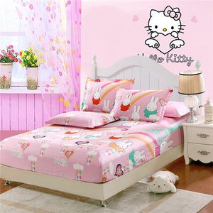 Cute Cartoon Fitted Sheet with Pillowcases for Boys and Girls
