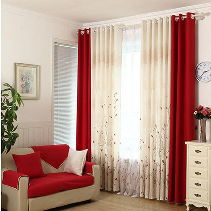 Modern Rustic Red Cherry Faux Cotton Curtains Tulle Drapes