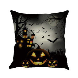 Halloween Haunted Scenes Square Throw Pillow Cases and Cushion Covers