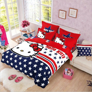 queen-tri-color-red-blue-white-with-star-printed-hello-kitty-Duvet-Cover-and-pillowcases