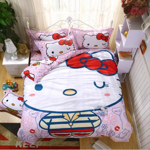 Hello Kitty Girls Bedding Duvet Cover, Bed Sheet and Pillow Set