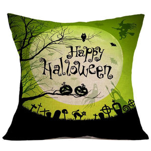 Halloween Haunted Greens Square Throw Pillow Cases and Cushion Covers