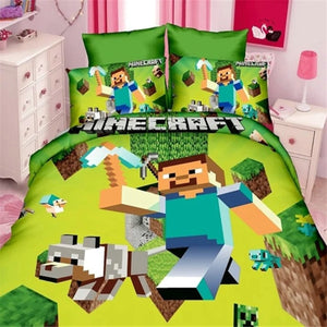 Twin Minecraft Boys Duvet Cover and Pillowcase Set