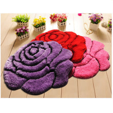 Purple, Red and Pink Rose Flower Shaped Floor Rugs