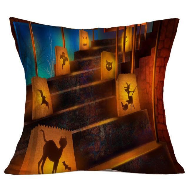 Halloween Lamps Lit Stairs Square Throw Pillow Case or Cushion Cover