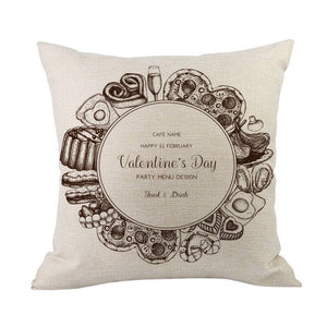 Happy Valentine Pillow Cases Cotton Linen Sofa Cushion Cover Home Decor