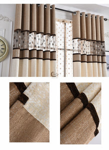 Stitching Stripe and Polka Window and Door Curtains