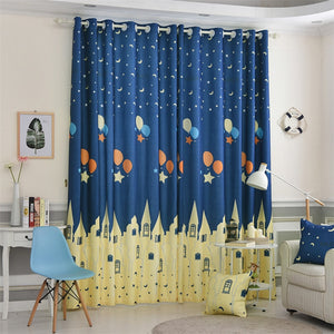 Cartoon Themed Castle and Nightly Sky Window and Door Curtains
