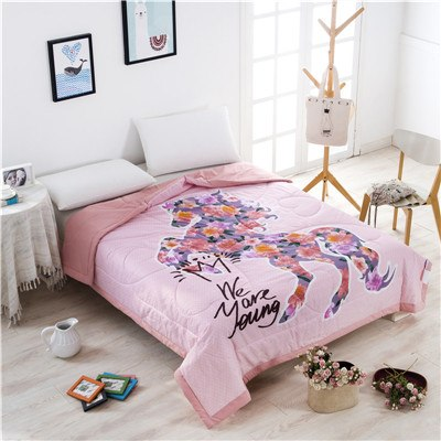 Horse Pink Summer and Fall Bedspreads Quilts