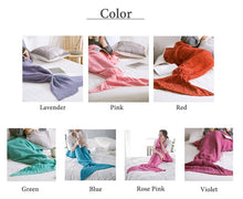 a comfortable knit mermaid tail blanket worn by women and show in seven colors