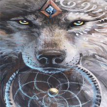 Close up of the Wolf image in Fusion of Dreamcatcher Feather with Wolf Warrior by SunimaArt Duvet Cover with Pillow Cases