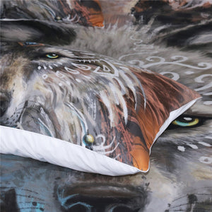 Pillow Display of Fusion of Dreamcatcher Feather with Wolf Warrior by SunimaArt Duvet Cover