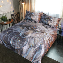 Corner perspective of the room showing Fusion of Dreamcatcher Feather with Wolf Warrior by SunimaArt Duvet Cover with Pillow Cases