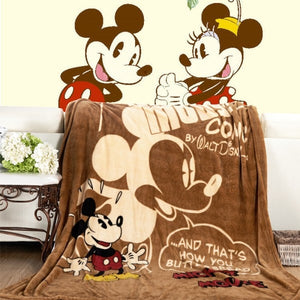 Disney Minnie Mouse or Mickey Mouse Twin Soft Flannel Blanket