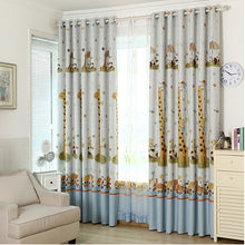 Light Yellow Giraffe Cartoon Curtain for Kids' Bedroom - Thick Blackout curtains shown on a bedroom window with 2 thick panels and 2 Tulle Panels.