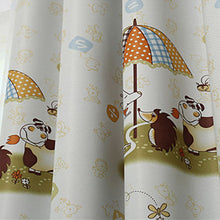 Yellow Giraffe Cartoon Curtain for Kids' Bedroom - Thick Blackout curtains panel closeup.