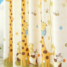 Yellow Giraffe Cartoon Curtain for Kids' Bedroom - Thick Semi-Blackout curtains panel close-up.