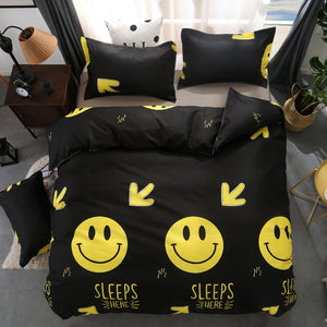 Buy Black Smiling Emoji Bed Set