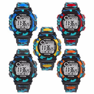 Image showing 5 color variants of a HONHX digital sports watch for kids