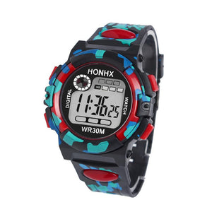 Side view of HONHX digital sports watch in red color