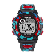 Front view of HONHX digital sports watch in red color