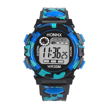 Front view of HONHX digital sports watch in Blue color