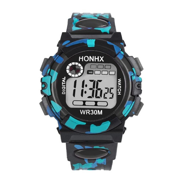 Front view of HONHX digital sports watch in black color