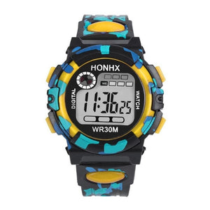 Front view of HONHX digital sports watch in Yellow color