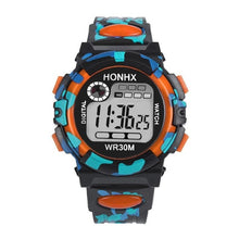 Front view of HONHX digital sports watch in Orange color
