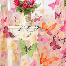 Floral Butterfly Print Sheer Voile Tulle Window Door Curtain