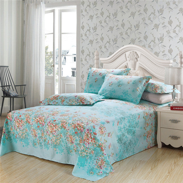 Luxury Pastoral Printed Bed Sheet With Pillowcases, 100% Cotton, Floral  Prints ...