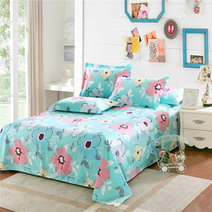 Luxury Pastoral Printed Bed Sheet with Pillowcases, 100% Cotton, Floral Prints