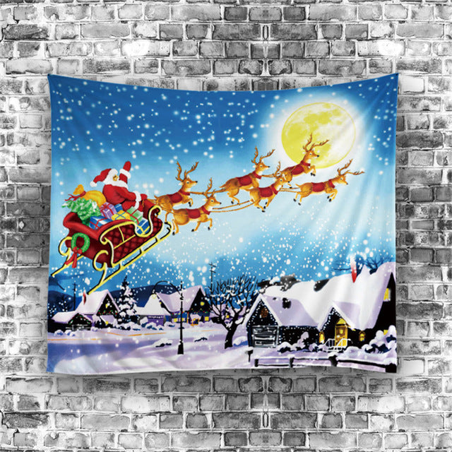 Decorative Flying Christmas Santa Sleigh Tapestry, Wall Hanging, Bed Sheet