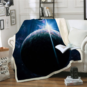 Blue Earth in Galaxy Sherpa Blanket Spread on a Sofa Couch in a Living Room