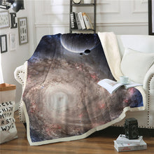 Planets Galaxy Universe Light Brown Sherpa Blanket Spread on a Sofa Couch in a Living Room