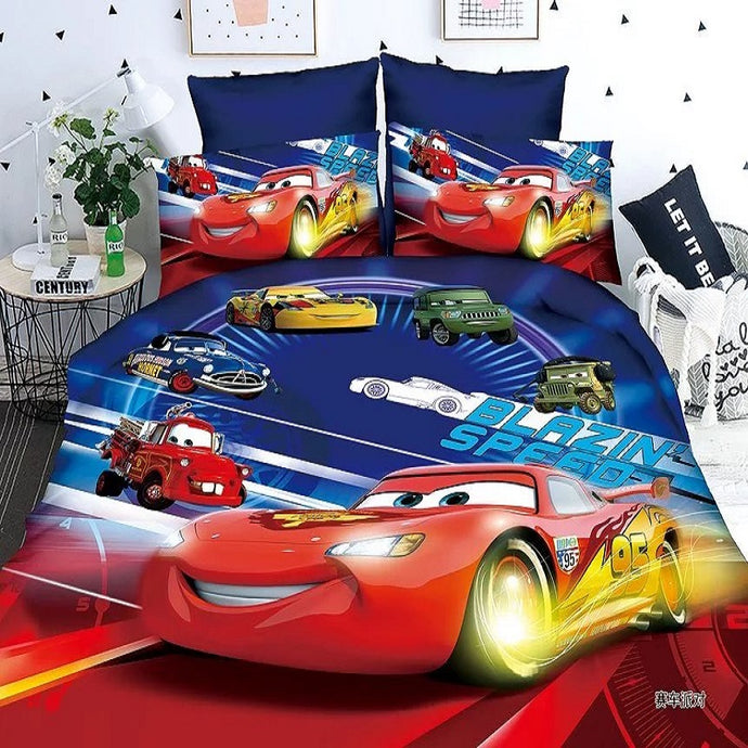 Disney Lightning Mcqueen Boys Bedding Set Duvet Cover Bed Sheet Pillow Cases