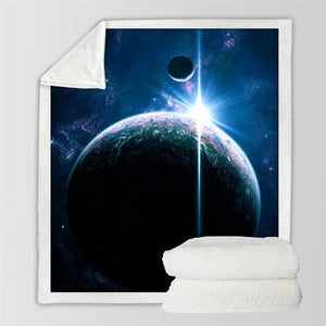 Galaxy Constellation Printed Sherpa Fleece Throw Blanket - (Twin / Full)