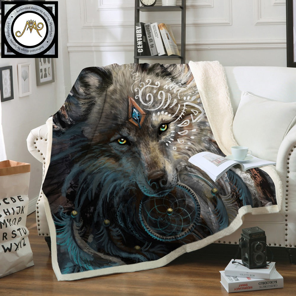 Multi Color Indian Wolf Warrior by SunimaArt Sherpa Fleece Throw Blanket